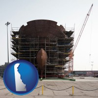delaware map icon and a ship building project at a Polish shipyard