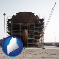 maine map icon and a ship building project at a Polish shipyard