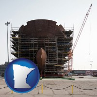minnesota map icon and a ship building project at a Polish shipyard