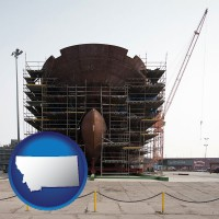 montana map icon and a ship building project at a Polish shipyard
