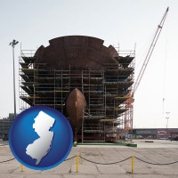 new-jersey map icon and a ship building project at a Polish shipyard