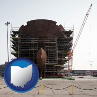 ohio map icon and a ship building project at a Polish shipyard