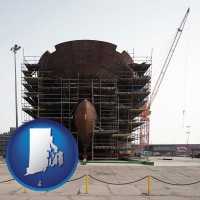 rhode-island map icon and a ship building project at a Polish shipyard