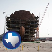 texas map icon and a ship building project at a Polish shipyard