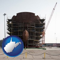 west-virginia map icon and a ship building project at a Polish shipyard